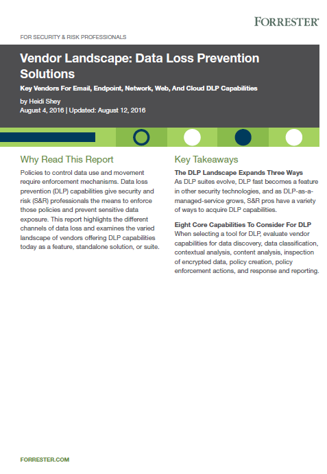 Forrester Vendor Landscape Data Loss Prevention Solutions
